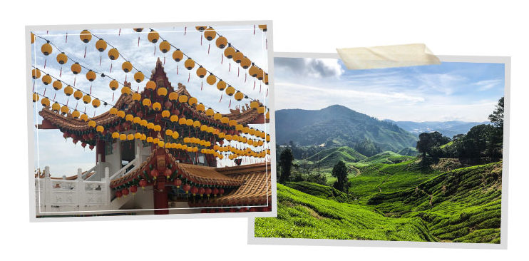 Temple and tea plantages in Southeast Asia
