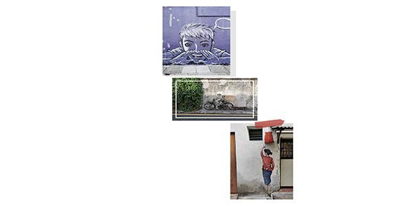 Pictures of street art in Georgetown Penang
