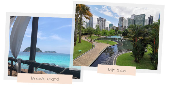 Blauwe water in Redang and het KLCC Park in Kuala Lumpur