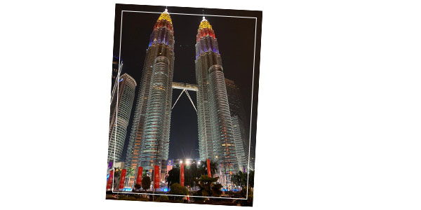 Petronas Towers colors of the Malaysian flag