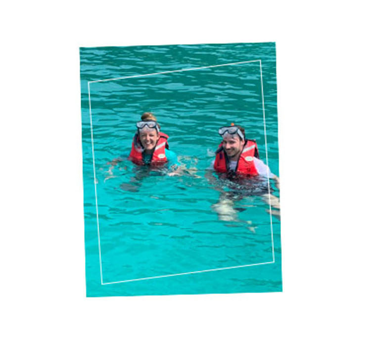 Lisa and Jeroen snorkeling on Redang island